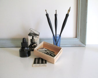 Vintage Office Supplies Pens and Nips Drawing Ink Calligraphy Ephemera