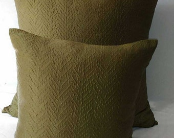 Olive green textured pillow, olive green throw pillow, olive pillow, green pillow, decorative pillow, chartreuse green pillow