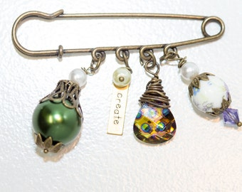 Create Antique Bronze Pin with Glass Pearl, Ceramic Bead and Crystal and Pearl Accents