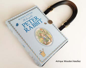 Peter Rabbit Leatherbound Book Purse - Beatrix Potter Collector Gift - Peter Rabbit Book Cover Handbag