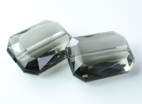 Faceted Smoke Gray Faux Gemstone Acrylic Beads