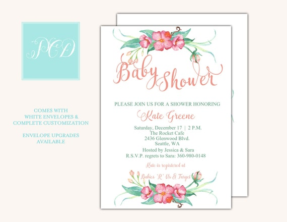 Watercolor Baby Shower Invitation, Girl Baby Shower Invitation, printable, digital file {Baby52}