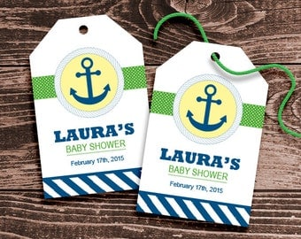 Personalized Nautical Anchor Baby Shower Favor Tags - DIY Printable - Gender Neutral (Digital File)