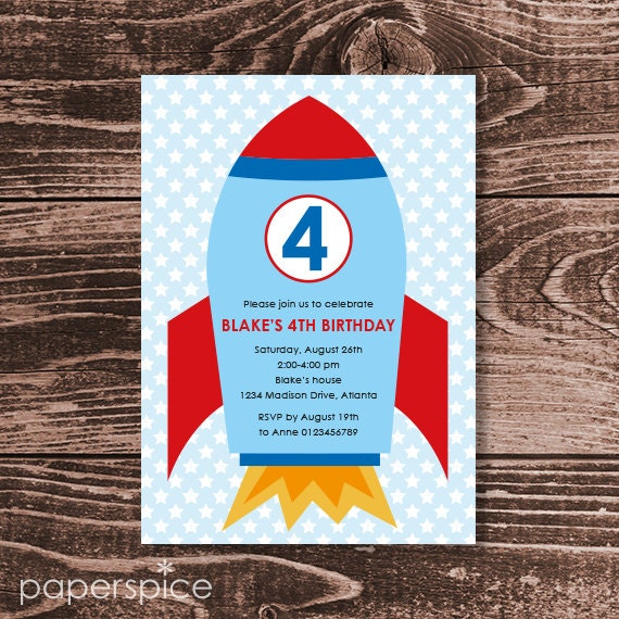 Space Rocket Party Invitation  – DIY Printable Personalized (Digital File)