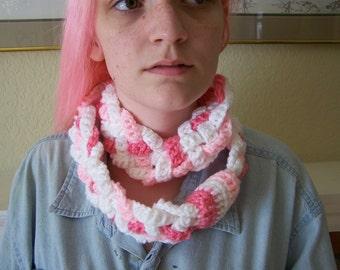 pink braid infinity scarf