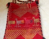 Vintage Wool Purse ethnic embroidered Carpet Tapestry Woven  Bag