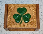 Wooden Keepsake Box - Trinket Box - Jewelry Box - Shamrock and Celtic pattern - Felt lined 16013
