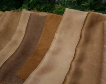 "Walnut Silk Art Fabric Natural Dye Collection 9 Brown Vintage Silk Assorted Textures Upcycled Silk Brown Earth Tones 6"" x 12"" to 10"" x 12"""