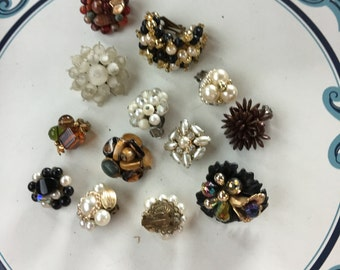 Repurpose salvage Flower Beaded Cluster Gold tone Rhinestone earring lot destash harvest