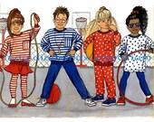 556 Butterick 4412 Boys & Girls Pants Top Skirt Dress Leggings sizes 5 6 6X Easy Vintage Busybodies Sewing Pattern, Uncut