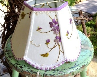 Violet Lamp Shade, Embroidery Lampshade, 4x8x6 Scallop Hex Clip with Pretty Vintage Textile - Shabby Chic!