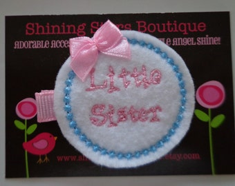 Hair Accessories - Felt Hair Clips - White, Pink, And Aqua Blue Embroidered Felt Little Sister Hair Clippie For Girls