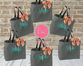 6 bridal party tote bags  , bridesmaid gifts , tote bag , beach bag , bachelorette party gift , bridal party gifts, bridemaid tote