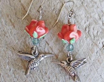 Red Glass Rose Hummingbird Spirit Animal Totem Healing Silver Earrings, Nature Inspired