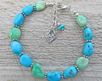 Blue Turquoise Green Chrysoprase Heart Boho Bohemian Healing Gemstone Bracelet