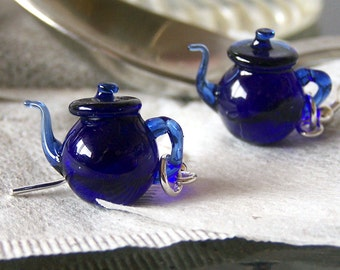Cobalt Blue Tea Tiny Teapots - Handmade Glass Dangling Lampwork Earrings SRA