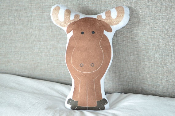 Modern Moose Pillow : Moose Pillow Plush Stuffed Animal Woodland Crib by cleverbetty