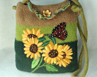 Felted Purse,felted tote,sunflower art, hand made felted purse,sunflower and butterfly, needle felt painting