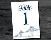 DIY Newport Bridge Table Number for 5x7 frame or stand, instant download printable table numbers 1-40