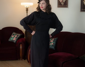 Vintage 1940s Dress - Stunning Black Rayon Crepe Beaded Neckline 40s Cocktail Dress with Dramatic Dolman Sleeves