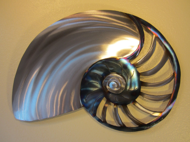 Large Nautilus Sea Shell Metal Ocean Decor Steel Beach Cottage