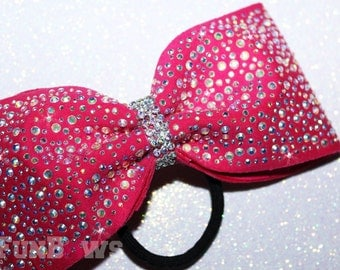 Tail-less Princess bow with AB stones  -  Allstar cheer bow  by Funbows - Customize This !