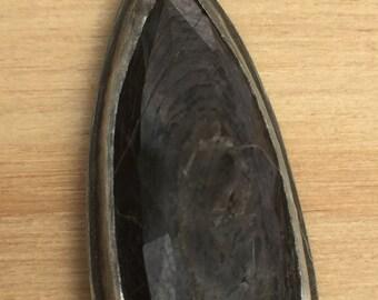 Sterling Silver Teardrop Pendant with Hypersthene