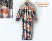 1960's Vintage Dress Montgomery Ward Bright Colors Hippie Retro Psychedelic Flower Power Clothing Hostess Dress