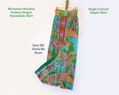 Vintage Skirt Full Length Skirt Hot Pink Skirt Psychedelic Skirt 1970's Polyester Fabric Long Skirt Sexy Skirt