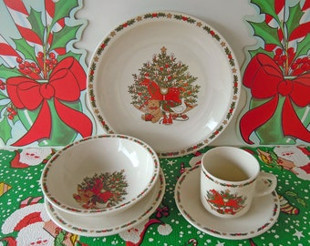 Vintage 1987 Christmas Dishes One Place Setting | Dinner Plate Salad Plate Bowl Cup and Saucer