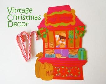 Vintage 1970 Christmas Decoration Santa Claus North Pole Post Office Elf Paper Die Cut
