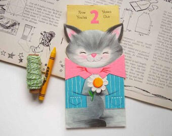 Vintage Gibson Kitten Cat Two Year Old Greeting Card