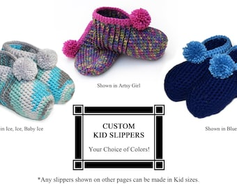 Children's Crocheted Slippers, Kids Slippers, Boys Slippers, Girls Slippers, YOUR CHOICE of Colors, Fun Slippers, Custom, Made to Order