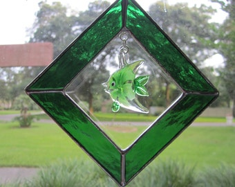 Green Glass Fish Sun Catcher