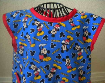 Toddler Mickey Mouse Art Smock, Apron, Bib With Red Bias Trim. Size 3t-4t