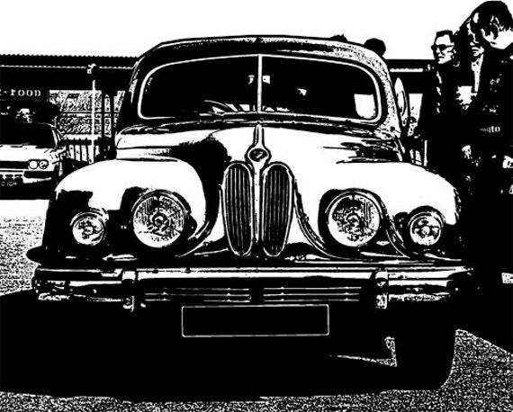 old classic vintage car Digital Art Download, Printable Image graphics digital print vehicles automobile art black and white
