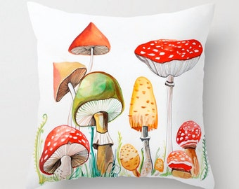 Mushrooms pillow cover, print from original watercolor painting