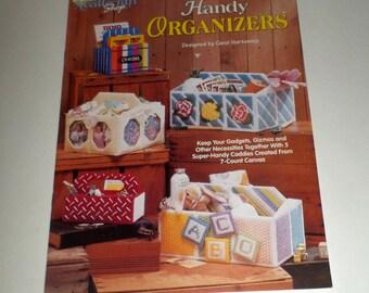 Plastic Canvas Organizers Pattern Leaflet - Handy Organizers - 7 Count Plastic Canvas - Carol Nartowicz - Vintage PC Pattern Leaflet - Caddy