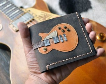 Free!! initials stamp Hand Stitch Men Wallet GIBSON LESPAUL Colored Wood