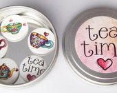 """CLOSEOUT SALE Tea Time 1"""" inch Magnet Set of 5 in Gift Tin"""