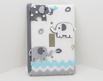 Elephant Chevron Light Switch or Outlet Cover - Gray, White, Pale Turquoise - Elephant  Nursery - Children's Safari Jungle Themed Decor