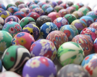 15mm Round Polymer Clay Beads Assorted Variety 100 pieces (B)