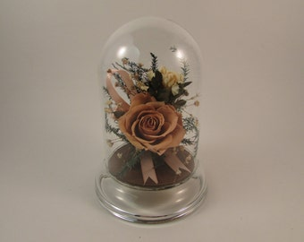Preserved Flowers under a Glass Dome Pink Rose Pink Ribbon Breast Cancer Awareness Made by Natural Expressions