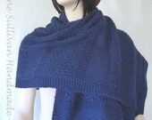 Hand Knitted Navy Blue Shawl,  Womans Shawl with Multiple Patterns, Large Knitted Shawl, Luxurious knit Shawl