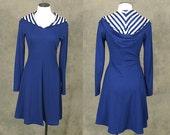 vintage 70s Hooded Dress - 1970s Nautical Navy Blue Dress Striped Hood Sailor Dress Sz S