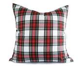 White Red Plaid Pillows, Christmas Pillow Cover, White Tartan Pillows, Dress Stewart Plaid Cushions, Lumbar 10x16, 16, 18, 20, 22, 26, NEW