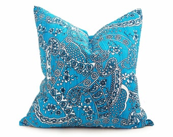 Vibrant Turquoise Pillow Covers, Bright Blue Throw Pillows, Blue White Pillow Cushions, Eclectic Paisley Pillow, Retro Dorm Decor, 20x20