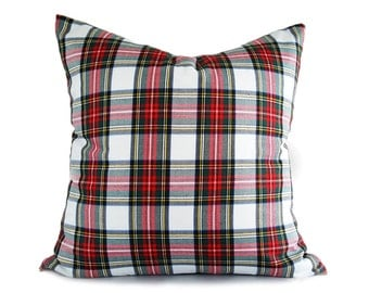White Red Plaid Pillows, Christmas Pillow Cover, White Tartan Pillows, Dress Stewart Plaid Cushions, Lumbar 10x16, 16, 18, 20, 22, 26, NEW