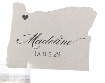 Oregon Place Cards - State Silhouette seating cards - with optional custom location heart cutout