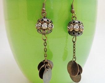 Metal Filigree Ball Rhinestone Dangle Earrings Gypsy